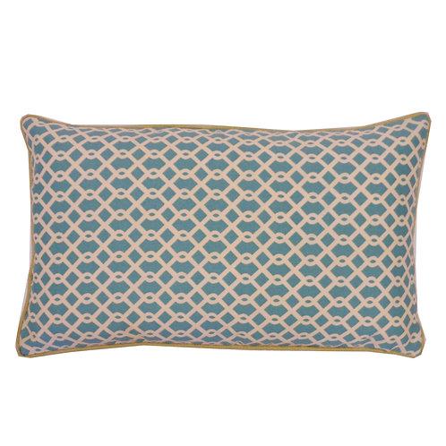 Grid Print Outdoor Lumbar Pillow