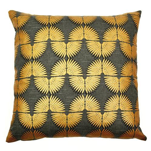 Wavy Print Cotton Throw Pillow