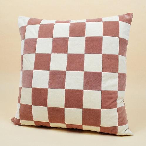 Small Checkered Velvet Throw Pillow