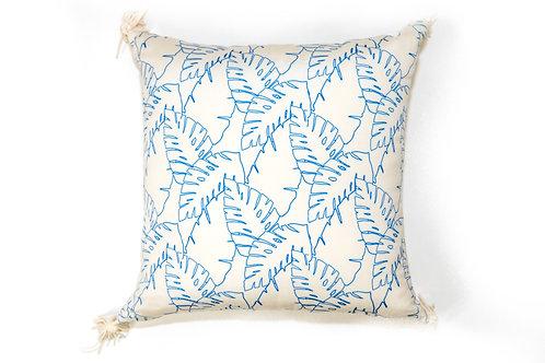 Blue Leaf Outline Outdoor Pillow