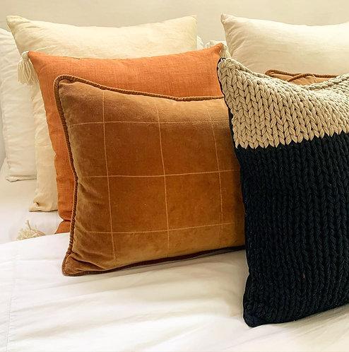 Quilted Velvet Lumbar Pillow