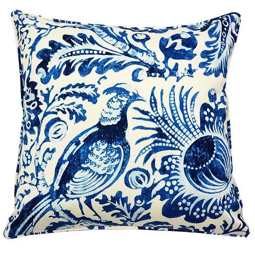 Peacock Print Outdoor Throw Pillow