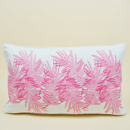Multi Palm Linen Lumbar Pillow