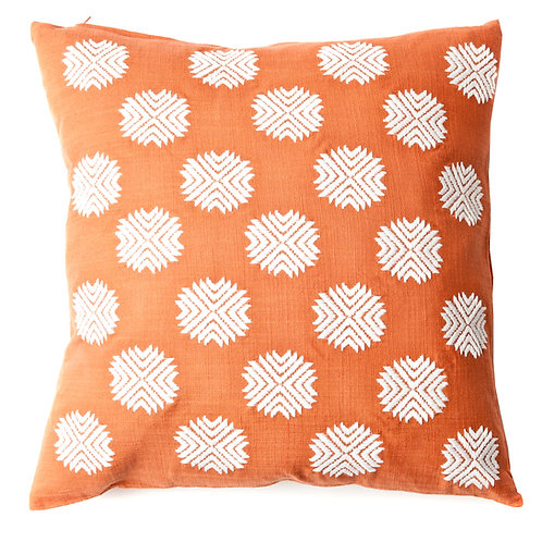 Sufi Embroidered Linen Throw Pillow
