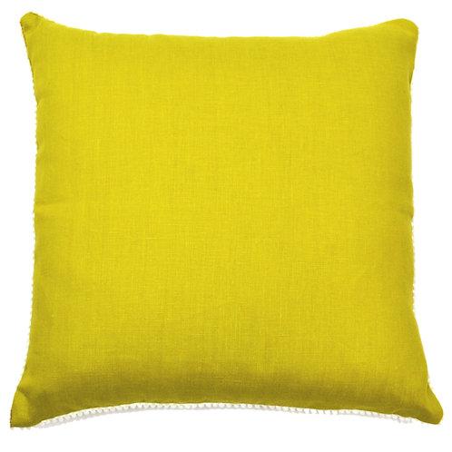 Pompom Trim Linen Throw Pillow