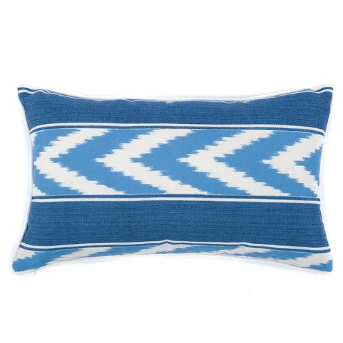 Ikat Stripe Print Outdoor Lumbar Pillow