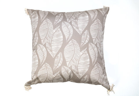 Cream and Brown Leaf Stamp Outdoor Pillow