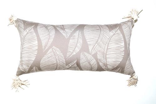 Cream Leaf Stamp Outdoor Pillow