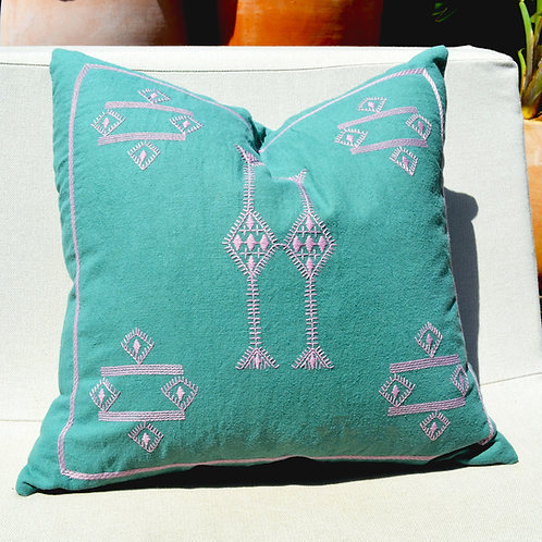 Cactus Embroidered Linen Throw Pillow