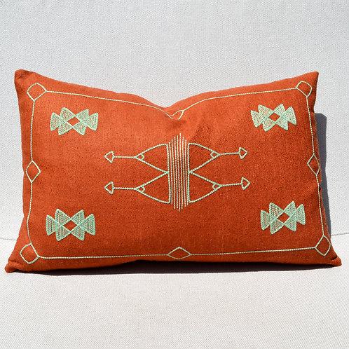 Cactus Embroidered Silk Lumbar Pillow