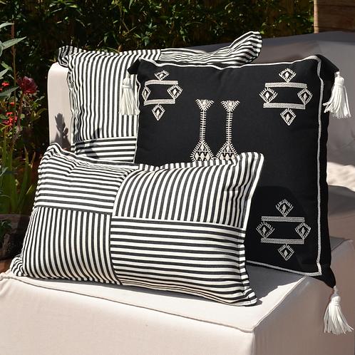 Striped Checkered Outdoor Pillow