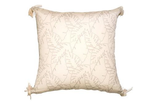 Leaf Outline Cream Outdoor Pillow
