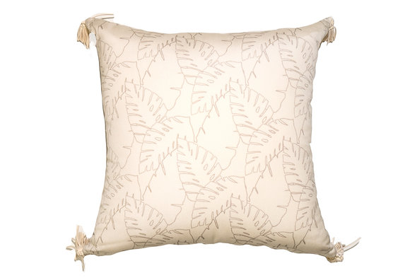 Leaf Outline Cream Outdoor Pillow
