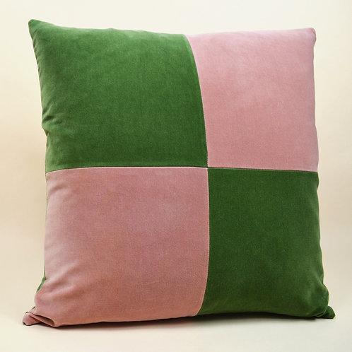 Large Checkered Velvet Throw Pillow