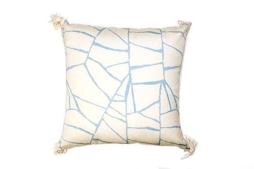 Light Blue Web Outdoor Pillow