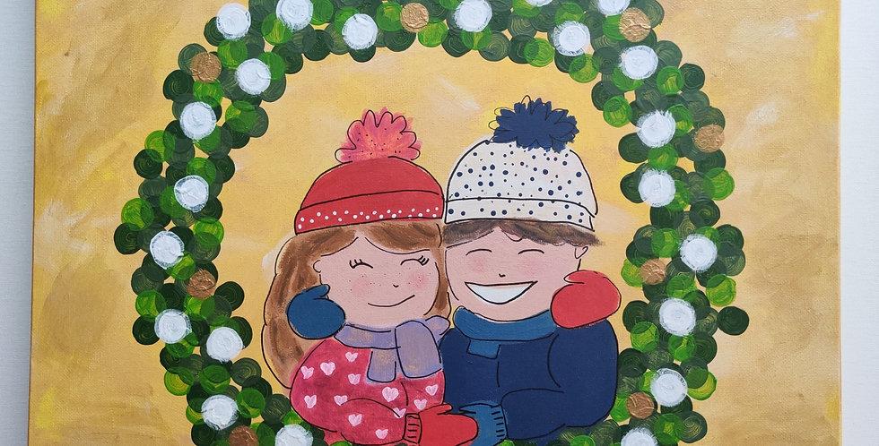 Kerstkrans met blond of dikke dames