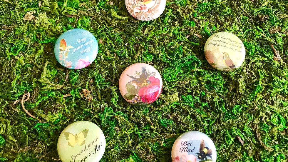 Birds, Butterflies & Bee Kind Buttons