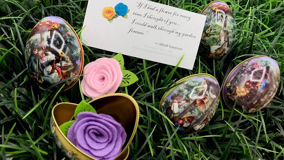 Felt Flower Pins in Eggs