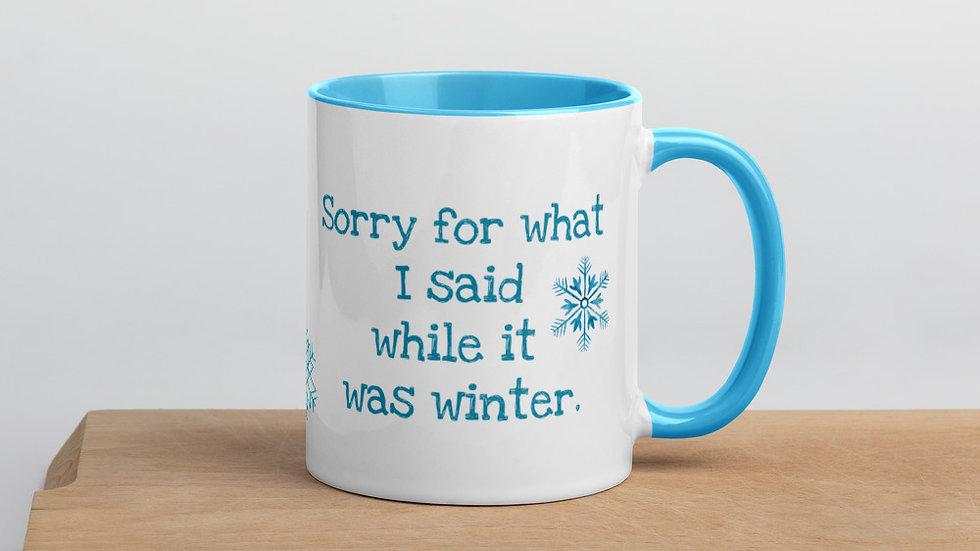 Sorry for What I said Winter Mug Blue