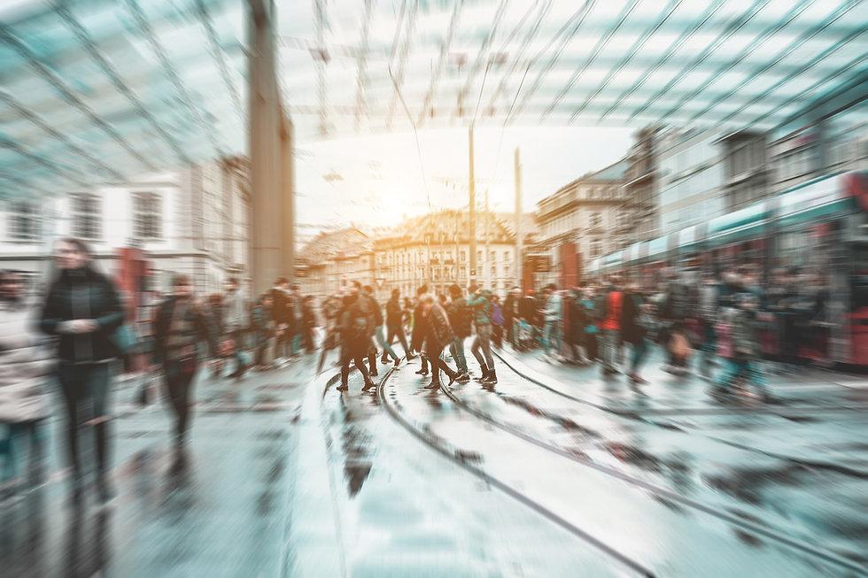 Urban city view of people crowd walking