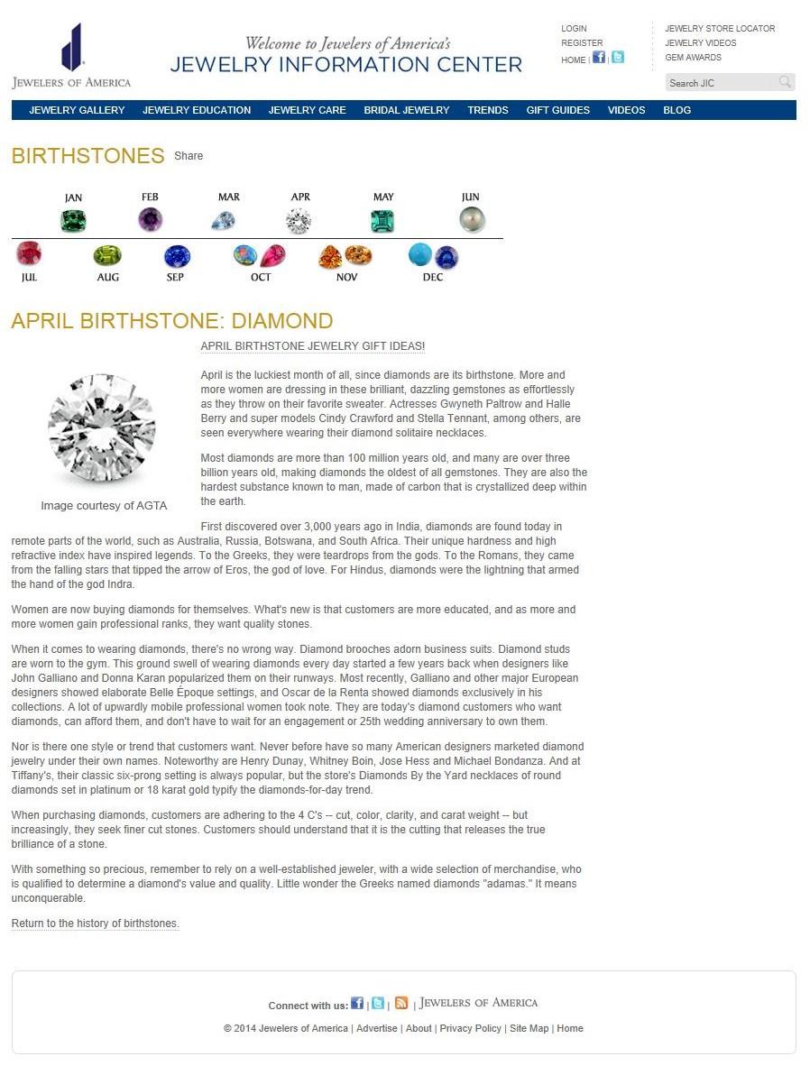 Birthstones - April Birthstone - Diamond