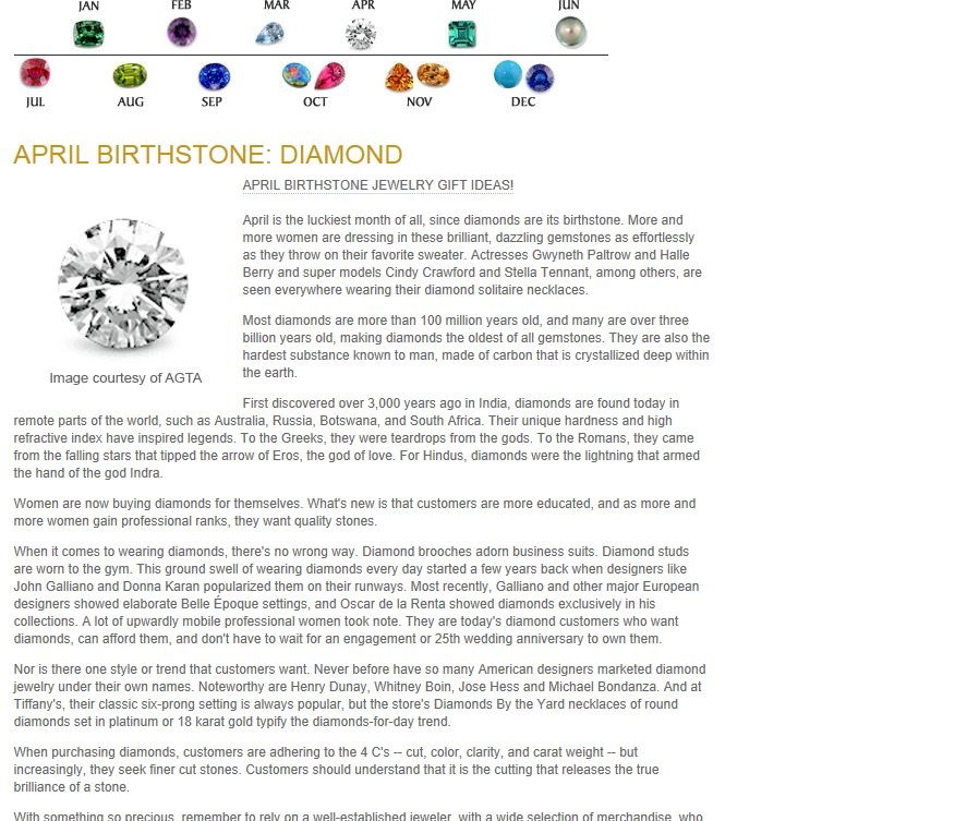 Birthstones - April Birthstone - Diamond