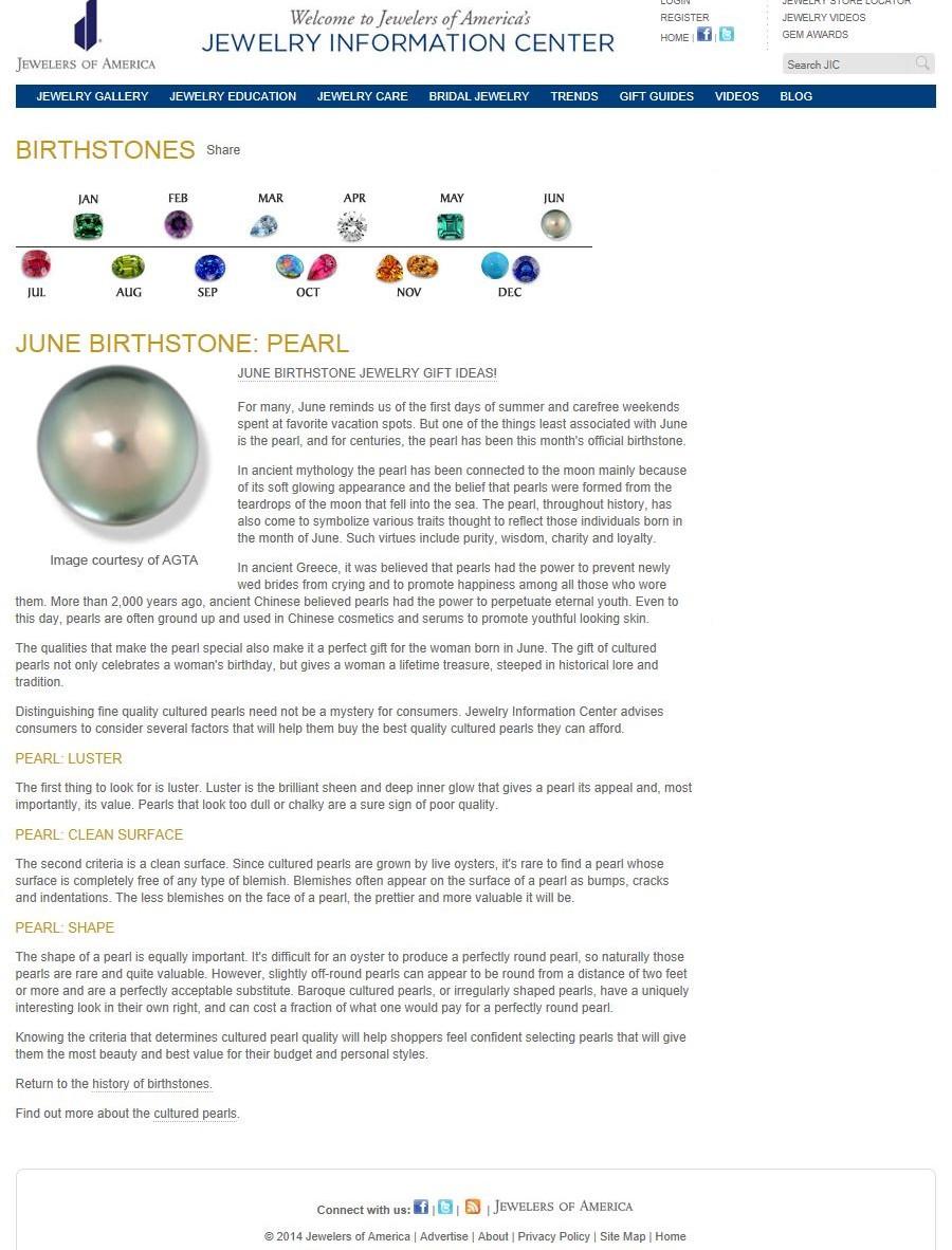 Birthstones - June Birthstone - Pearl.jp
