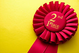 Red ribbon rosette for the second place