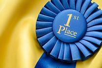 Blue Ist place winners rosette with plea