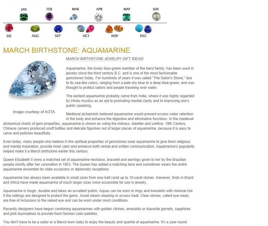 Birthstones - March Birthstone - Aquamar