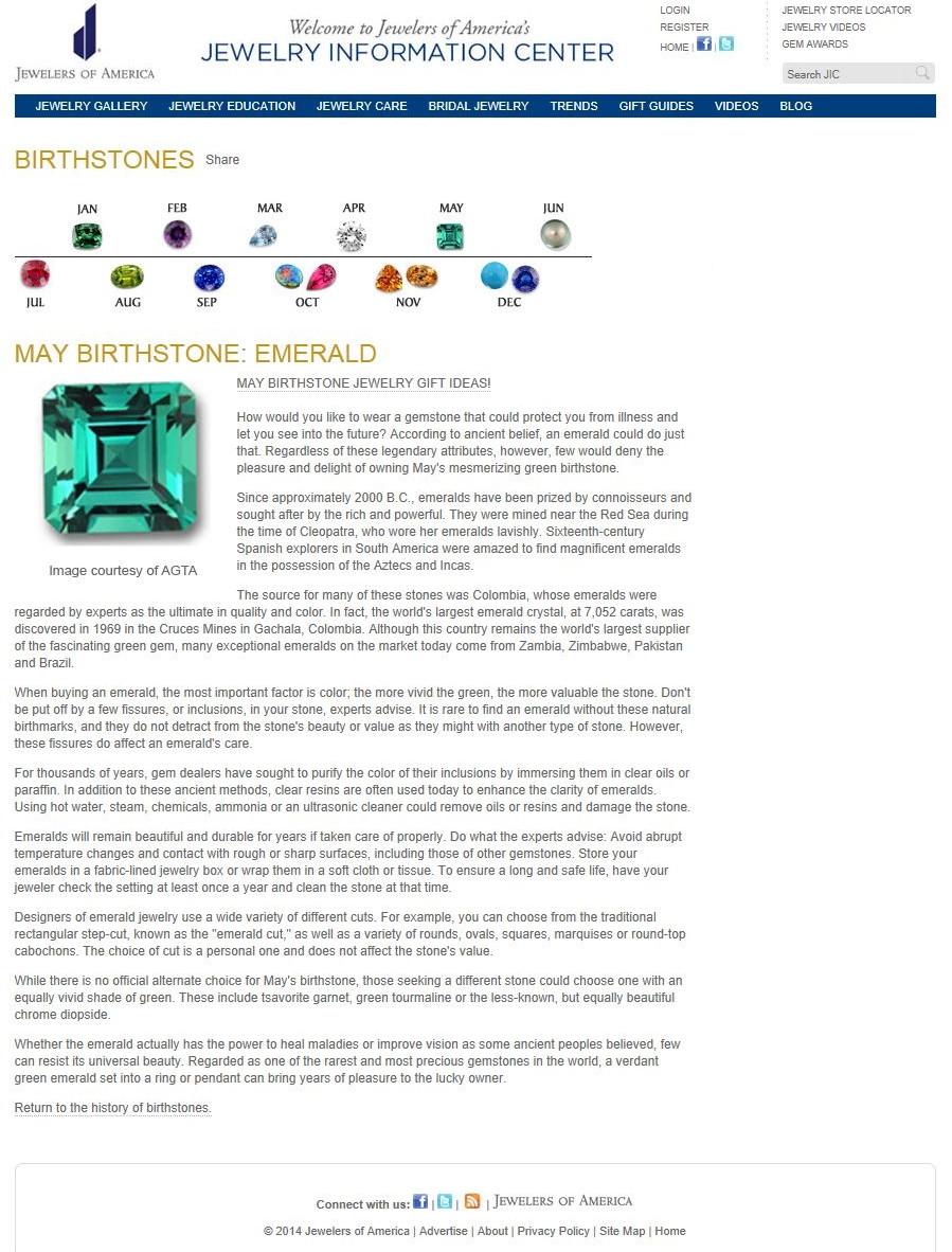 Birthstones - May Birthstone - Emerald.j