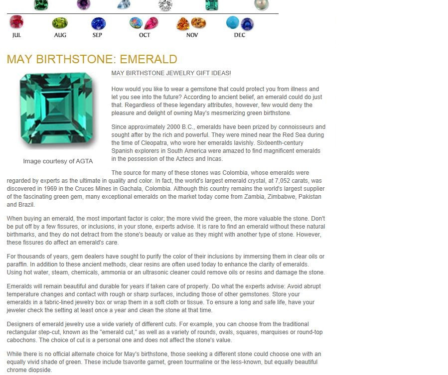 Birthstones - May Birthstone - Emerald.j