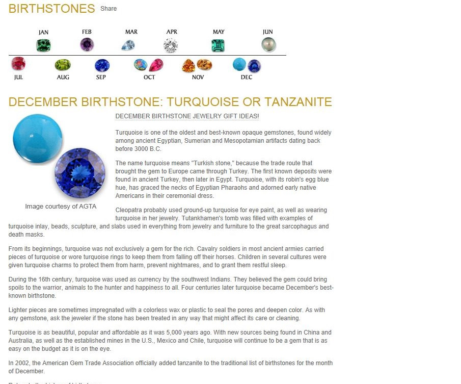 Birthstones - December Birthstones - Tur