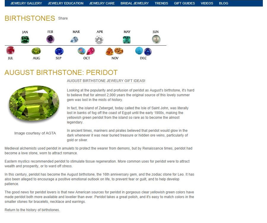 Birthstones - August Birthstone - Perido