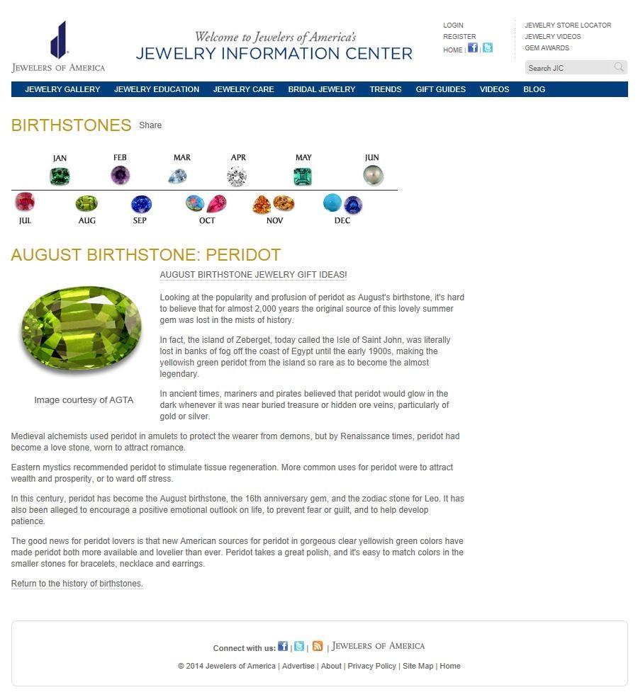 Birthstones - August Birthstone - Perido