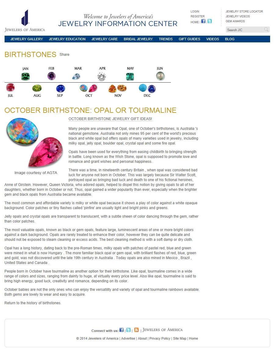 Birthstones - October Opal or Tourmaline