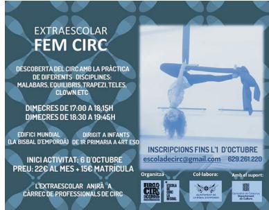 Fem Circ: activitat extraescolar per descobrir elcirc amb la pràctica de diferents disciplines