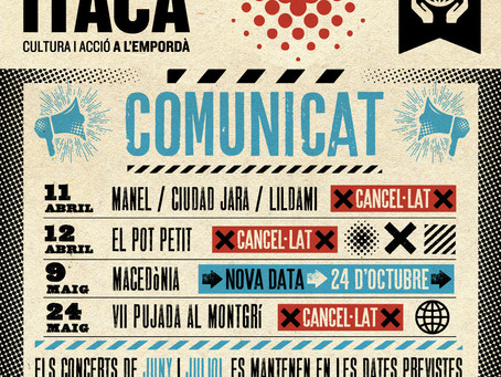 Ítaca anul·la els concerts a l'Escala l'11 i el 12 d'abril però oferirà un nou cartell el 3/10