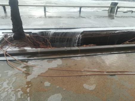 El temporal descalça i enfonsa una tros de parterre del passeig de Sant Antoni