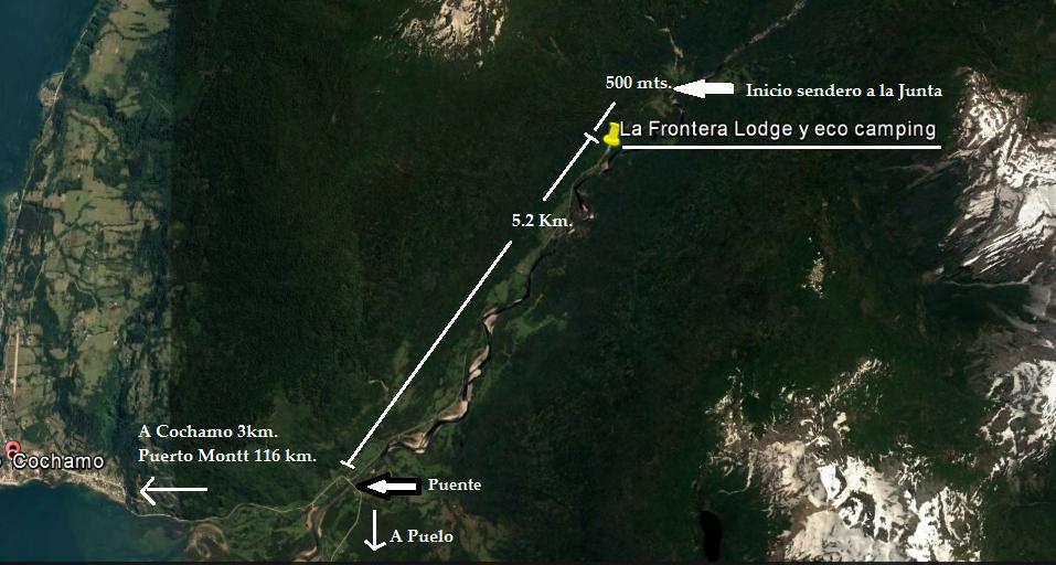 Mapa Valle Cochamó, La Frontera Lodge y camping, Patagonia