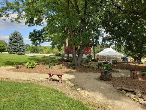 Walking paths and heart garden