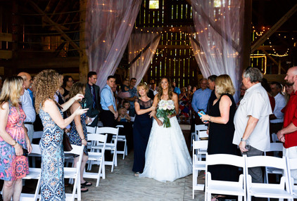 Bride in barn