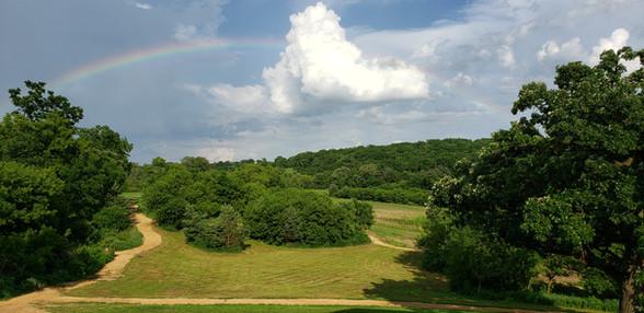 Rainbow over walking paths