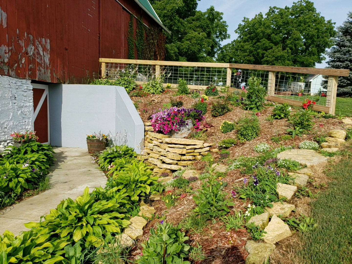 Flower Garden and Cave Entrance to Barn
