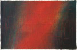 Gouache - Dripping rot auf Grün/Schwarz