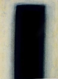 Gouache - Stele Schwarz über Blau