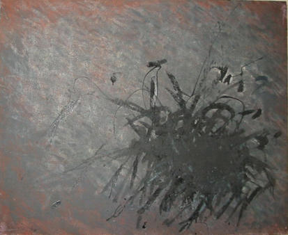 Gestik - Schwarzlack auf Rot - Bild - Ei-Öl, Lack/ Rupfen