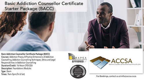 Basic Addiction Counselling Certificate Package (BACC) 16 Hours CEU/CPD Zoom