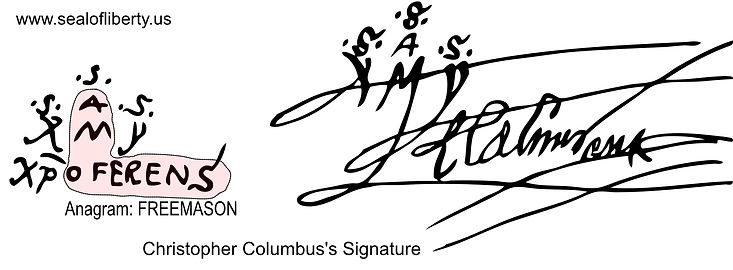 Columbus's Signature anagram Freemason