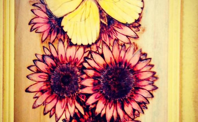 Wood Burned Butterfly & Flowers